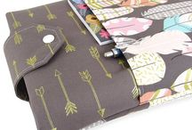 Fabric Book Sleeves / This is our collection of fabric book sleeves. They come in two sizes: large and small, and are perfect for paperbacks and hardcovers.   We offer these in both of our Etsy shops: Charmed Prairie and Five Sprouts