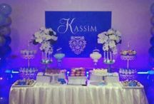 elegant blue with bling sweets and candy buffet