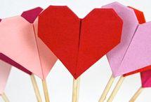 Corações origami