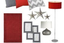Návrh ložnice - bílo-šedo-červená