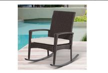 Rattan Chair Rocker Garden w/ Cushion Furniture Seater Patio Bistro Recliner Hom #Outsunny