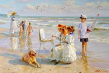ALEXANDER AVERIN....artist~ / Alexander Averin--Born 1952 in Noginsk, near Moscow.   The main theme of Alexander Averin's painting are genre scenes with charming young ladies and children against blossoming meadows and gardens, shady river coasts, and sea landscapes.