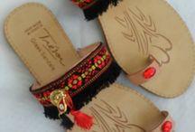 Handmade leather sandals by Irene B. Art / Χειροποίητα σανδάλια