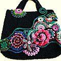 sac noir fleurs