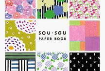 SOU・SOU  PAPER BOOK / Beautifully-designed & double-face removable papers for your creative works! Some 'ORIGAMI' & 'PAPER CRAFT' instructions are also included.