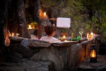 Bathing under the Stars / Nkwichi's famous outdoor bathrooms, with tree-hanging showers and baths carved out of the rocks!