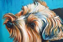 Pet Portraits by Robin Kachantones / Just like the unique personality of your pet, each portrait is a one of a kind hand painted work of art. I paint original, custom pet portraits.