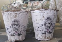 Altered Peat Pots / Peat pot art / by Becky Loyall