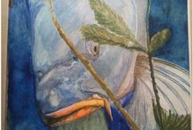 C is for Carp W for Watercolor / Watercolor,Fish