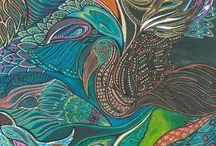 drawings illustrations / Art, psychedelic art, birds, wings, wind, sea, earth, space, water, dreams