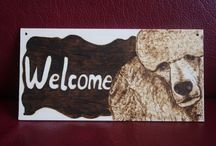 Poodle Fun- My Pyrography / poodle, pyrography, dog, welcome home, trimsalon, uszkár, pudel, wood burning