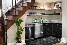 kitchen tucked under stairs