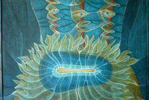 Mé pastely / my pastels / voskové akvarelové pastely na kartonu, korku a papíru