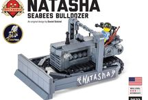 "Fighting Seabees ""Natasha"" Bulldozer Lego Kit / Exclusive Seabee Pride Lego Series New Release! This kit is only available at http://seabeepride.com/product/fighting-seabees-natasha-lego-dozer/"