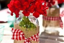 Gingham Summer Barbecue Party Ideas / red gingham vintage barbecue party