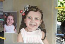 Portretten pastelkrijt eigen werk