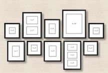 Moldes para paredes de fotos / Aqui estão postadas algumas idéias de tamanhos e de que forma organizar paredes de fotos. Sugerimos que você utilize antes de furar a parede papel madeira e fita crepe para montar o painel, assim você evita furos em lugares errados e que estrague sua parede.