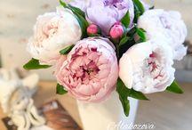 peonies / peonies, clay flowers
