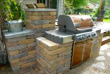Creative Outdoor Ideas / We discovered how to take a standard grill,and make it look like a built-in outdoor kitchen.