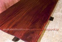 Τραπέζια εξωτερικού χώρου / Τραπέζια εξοχής country, τραπέζια τραπεζαρίας, παραδοσιακά έπιπλα από μασίφ ξύλο αδιάβροχα, Νιαγκόν (Niangon), παλαιωμένα, βουρτσισμένα, με σιδερένια πόδια,  εξωτερικού χώρου χειροποίητα.