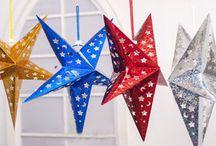 Gwiazdy / ozdoby wiszące, papierowe