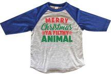 Merry Christmas Ya Filthy Animal Kids Raglan Baseball Tshirts - Toddler - Youth