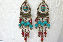 Handmade earrings by AndyCollectionJewels / DANGLING EARINGS WITH GEMSTONES, CRYSTALS, GLASS, CHAIN