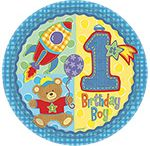 1st Birthday: Hugs and Stitches - Boy Party Supplies / A range of Hugs & Stitches 1st Birthday Boy tableware which include coloured napkins, plates, Hugs and Stitches tablecover, cups, disposable cutlery, Plastic Compartment Plates, Platters, great for your childs 1st Birthday Add this Hugs & Stitches 1st Birthday Boy partyware to any idea and create the perfect themed party.