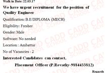 #job #offers BE/ DIPLOMA (MECH) interested MALE candidates apply for this job