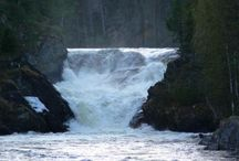 Jyrävä / Jyrävän vesiputous Oulangan kansallispuistossa Kuusamossa. The Jyrävä Waterfall in the Oulanka National Park in Kuusamo.
