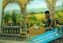 tranh tường 3d phong cảnh / vẽ tranh tường 3d phong cảnh nước ngoài phong cảnh phố tây phố cổ