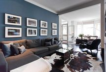 Blue greige living room