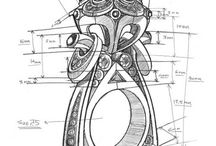 Jewelry Sketches / Artistic drawings and sketches of metal jewelry concepts