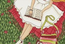 kadinlar kanavice sablonlari /women cross stitch charts