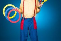 Hiccup The Clown / Hiccup The Clown is one of our super talented clowns. He brings his guitar and sings kids songs with the kids and does a unicycle juggling act, this part of his show takes 30 minutes, then he does 30 minutes of balloon twisting. We service Toronto and it's surrounding cities.