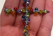 Nail and bead/wire cross.