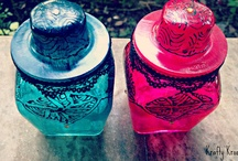 Hand painted Glass Jars