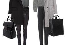 Abbigliamento nero e grigio