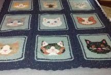 cat face crochet afghans