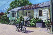 Village Life in Belize / Artwork by Lee Vanderwalker for sale on Fine Art America. The originals have all been sold, but prints are available.