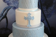 Boy simple baptism cake