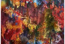 Paintings - Krzysztof Lozowski / One day I saw a city, some windows with faces appeared or maybe the faces were windows...something was covering them, the only thing I could see clearly were the Imprudent Towers. They looked at me carefully, one seemed to be extremely imprudent or... maybe I dreamed all the time.