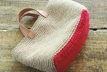 bolso crochet rojo y beige