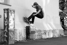B & W wall rider / Skateboarder in Norway. Skater Fredrik Jonsson photo Hastwerk_photo