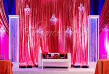 Backdrops / Backdrops- Fabric  draped lighting crystal unique contemporary traditional chic colorful
