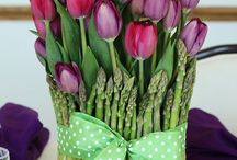 tulips and asperigis