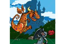 Cartoon Knights, Dragons and Monsters / Cartoon illustrations of knights and dragons