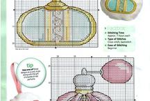 Perfume bottles cross stitch