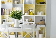 Shelves / I love looking for beautiful ways to display my collection of goodies, be it in my entrance hall, living area or kitchen and a plain, empty bookshelf doesn't really make or break a room so why not make your shelves the conversation piece? From colorful paint to funky wallpaper! Here is a collection of inspiring shelf ideas...