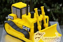 Construction vehicle cakes / Digger and bulldozer cakes